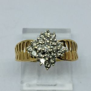60s 1 CT Cluster Diamond 14KP Yellow Gold Ring